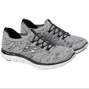 skechers memory foam black and white